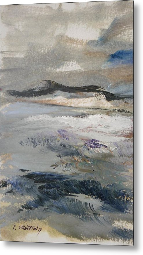 Sea Metal Print featuring the painting Silver Shores Of Evening Glow by Edward Wolverton