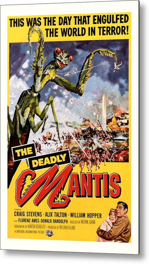 Sci Fi Metal Print featuring the mixed media The Deadly Mantis 1957 Vintage Movie Poster by Presented By American Classic Art