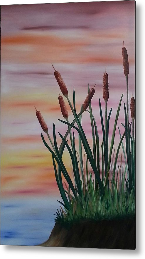 Cattails Metal Print featuring the painting Typha by Valorie Cross