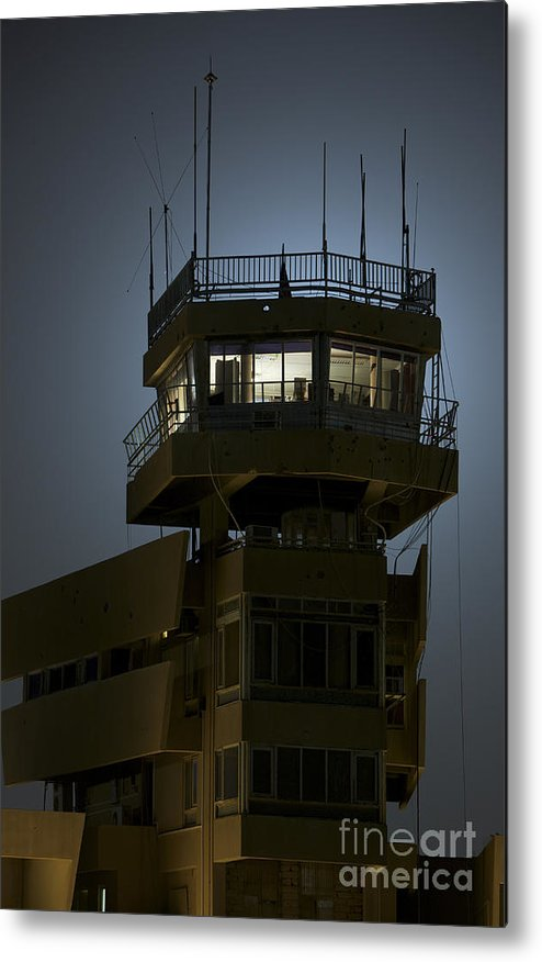 Night Metal Print featuring the photograph Cob Speicher Control Tower by Terry Moore