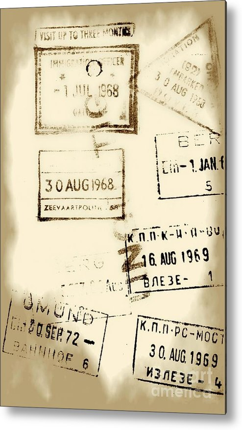 Stamps Metal Print featuring the photograph Old Entry And Exit Travel Stamps by Yali Shi