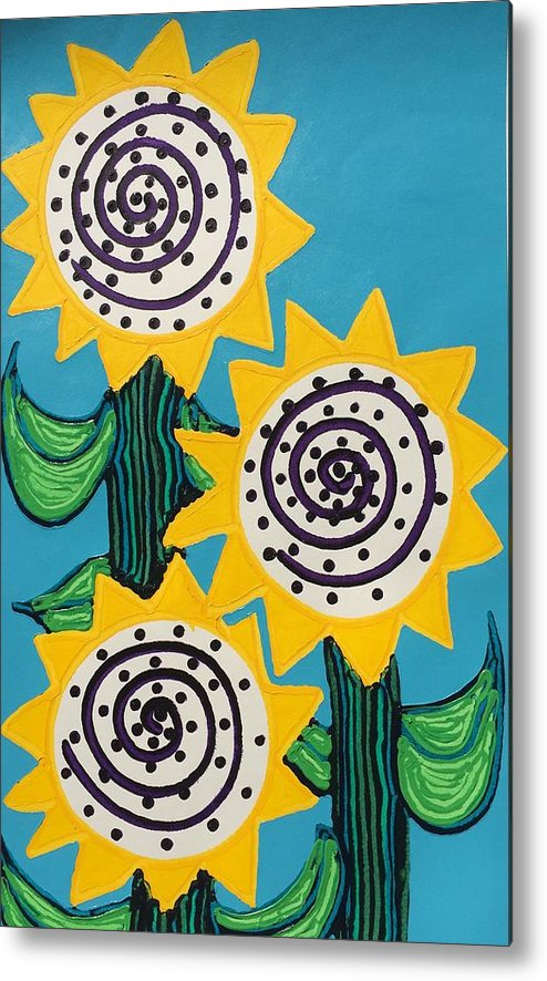 Flowers Metal Print featuring the painting 3 Sunflowers by Matthew Brzostoski