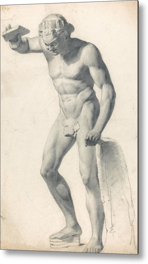 19th Century Art Metal Print featuring the drawing A Faun With Pipes by Richard Parkes Bonington