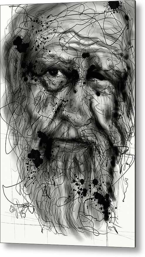Portrait Metal Print featuring the digital art Aged by Ellen Dawson