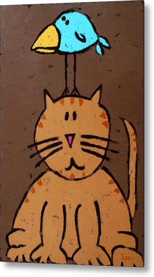Cat Metal Print featuring the painting Birdbrain by Ron York
