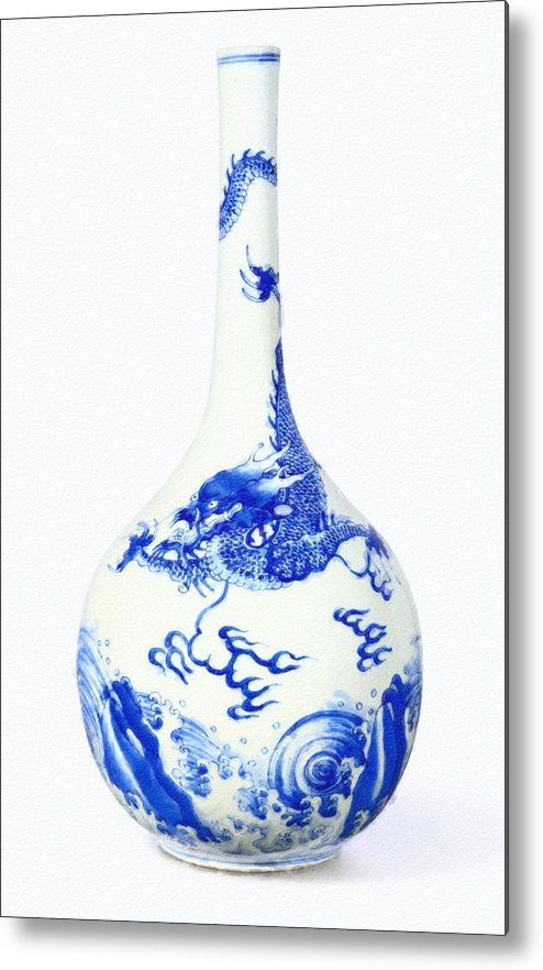 Blue Chinese Chinoiserie Pottery Vase No 5 Metal Print featuring the painting Blue Chinese Chinoiserie Pottery Vase No 5 by Celestial Images