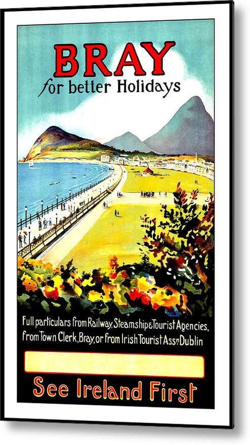 Bray Metal Print featuring the painting Bray, Ireland, Coast, Scenery by Long Shot