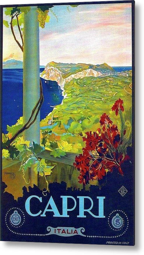 Capri Metal Print featuring the painting Capri, Italy, Italian Riviera, Scenery by Long Shot