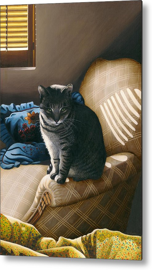 Gray Tabby Cat Metal Print featuring the painting Cat In Shadows by Carol Wilson