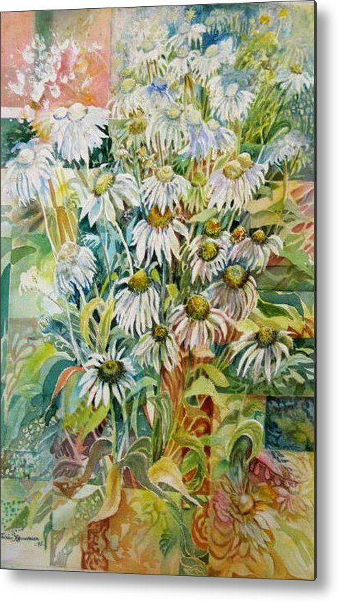 Art Metal Print featuring the painting Chamomile by Therese AbouNader