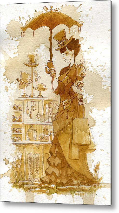 Steampunk Metal Print featuring the painting Couture by Brian Kesinger