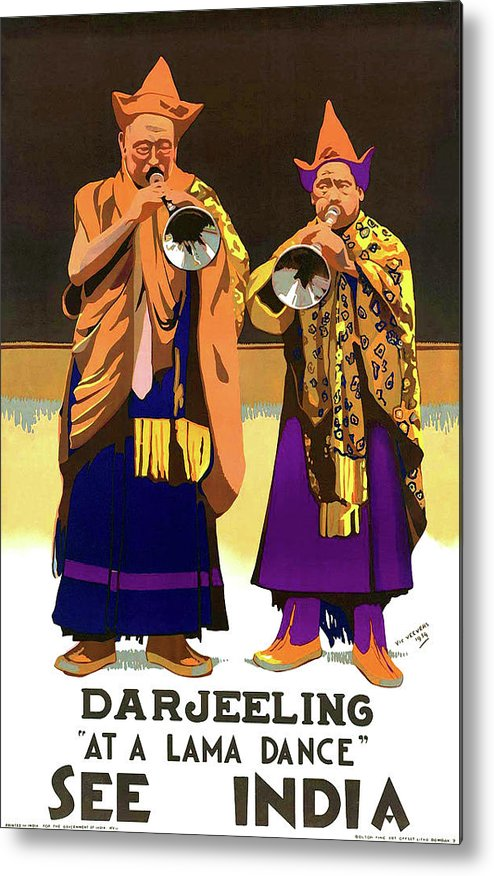 Darjeeling Metal Print featuring the painting Darjeeling, Lama Dance Musicians, India by Long Shot