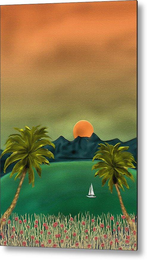 Tropical Island Ocean Sea Seascape Palms Sunset Sailing Sailboat Nature Gordon Beck Art Metal Print featuring the painting Emerald Bay by Gordon Beck