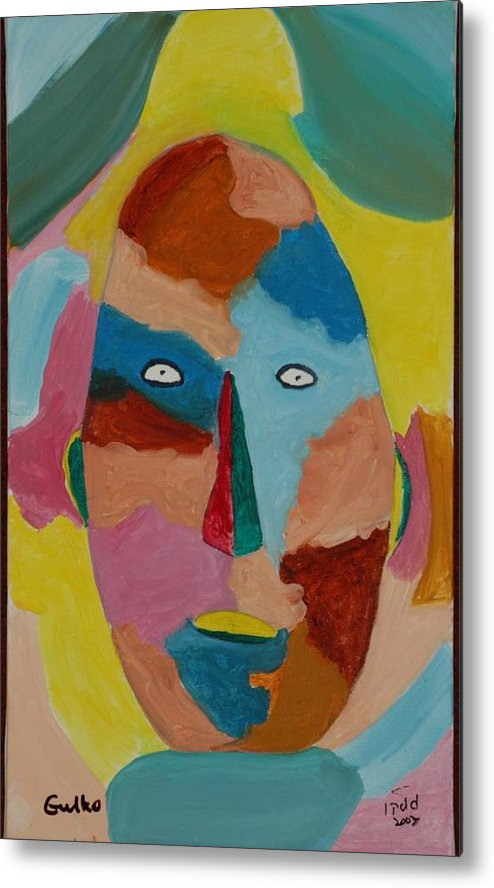 Mask Metal Print featuring the painting Face In Limbo by Harris Gulko