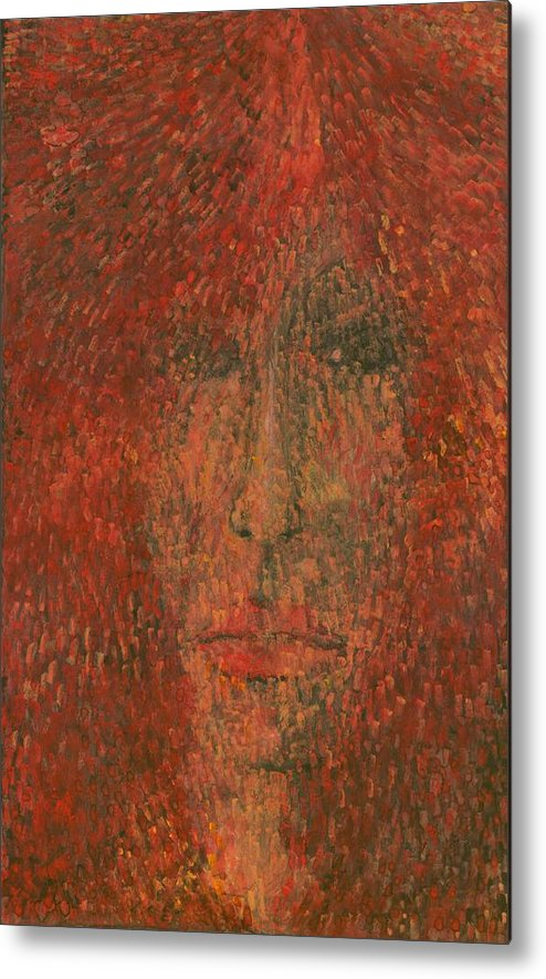 Colour Metal Print featuring the painting Face by Wojtek Kowalski