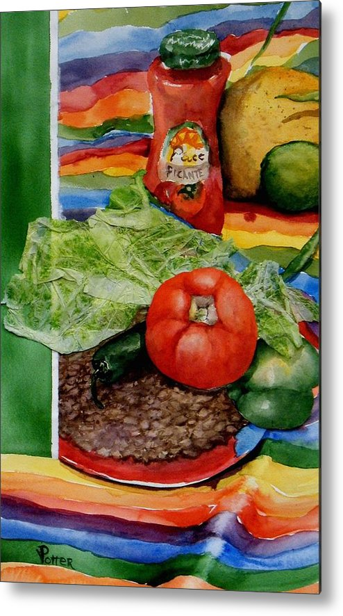 Bright Metal Print featuring the painting Fiesta by Virginia Potter
