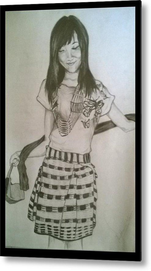 A Young Beautiful Girl Of Naga Tribe Of Nagaland Metal Print featuring the drawing Happy Girl In Naga Outfit by Shubham Kumar
