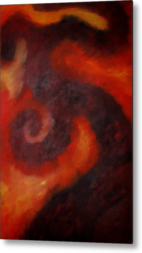 Abstract Metal Print featuring the painting Hint Of Evil by Alpha Clemons