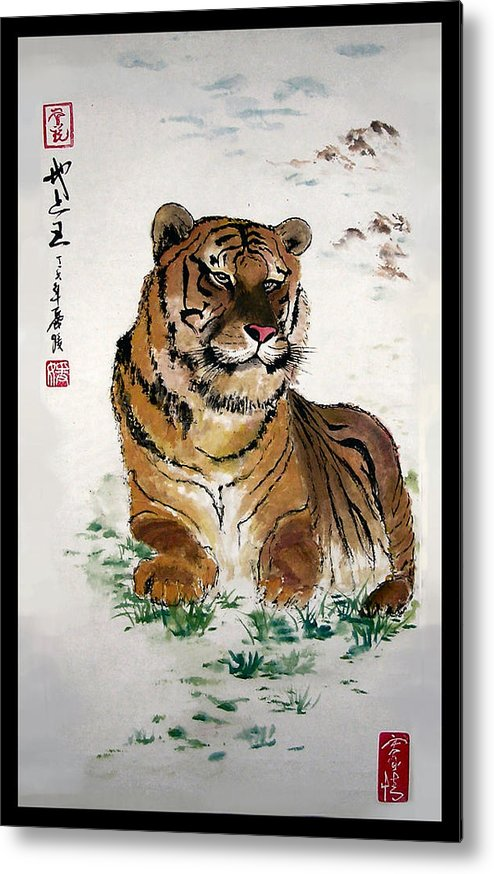 Tiger Metal Print featuring the painting King On The Earth by Lilian Storino