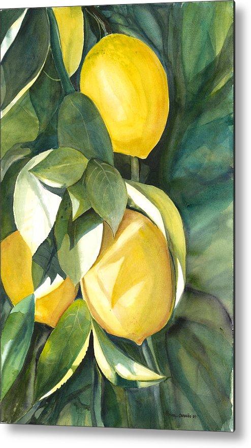 Cluster Of Lemons Metal Print featuring the painting Lemons by Ileana Carreno