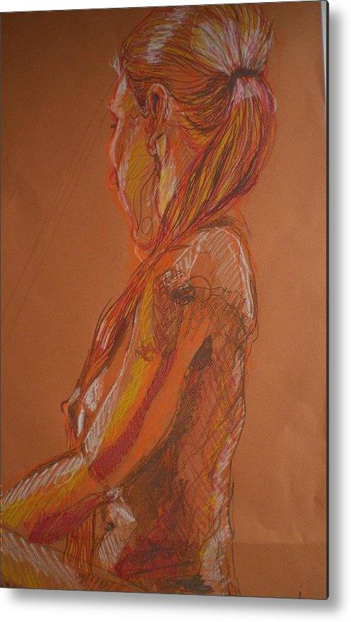 Setaed Female Figure Metal Print featuring the painting Looking Away by Aleksandra Buha