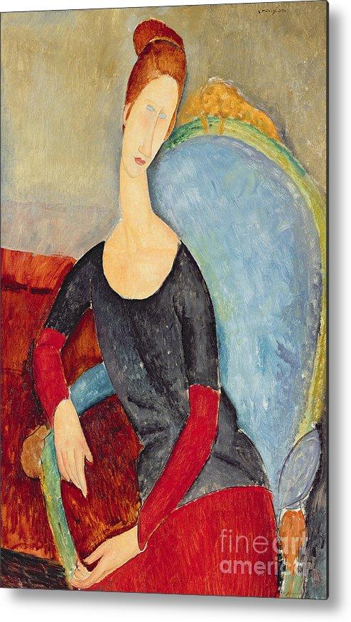 Mme Hebuterne In A Blue Chair Metal Print featuring the painting Mme Hebuterne In A Blue Chair by Amedeo Modigliani