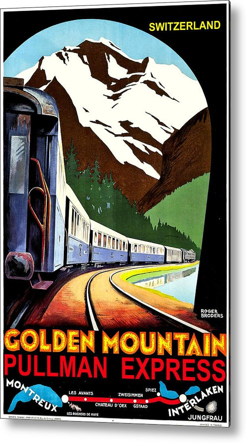 Montreux Metal Print featuring the painting Montreux, Golden Mountain Railway, Switzerland by Long Shot