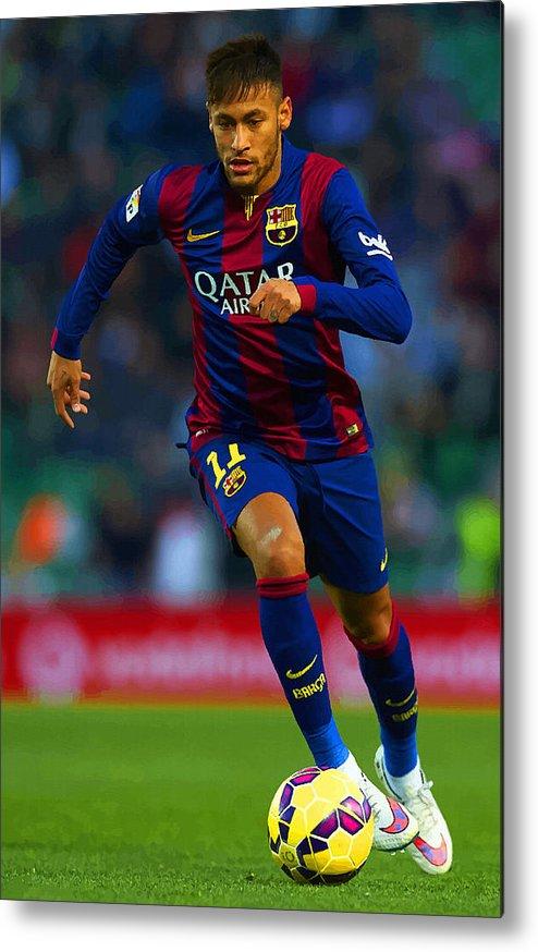 3f3e7f0b0 English Metal Print featuring the digital art Neymar Jr Of Barcelona Runs With  The Ball by