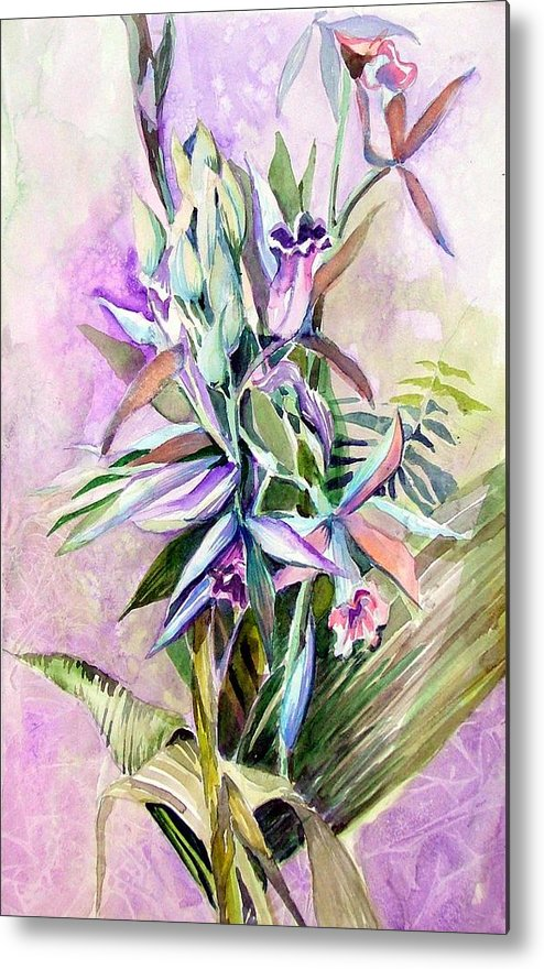 Orchid Metal Print featuring the painting Nun's Hood by Mindy Newman