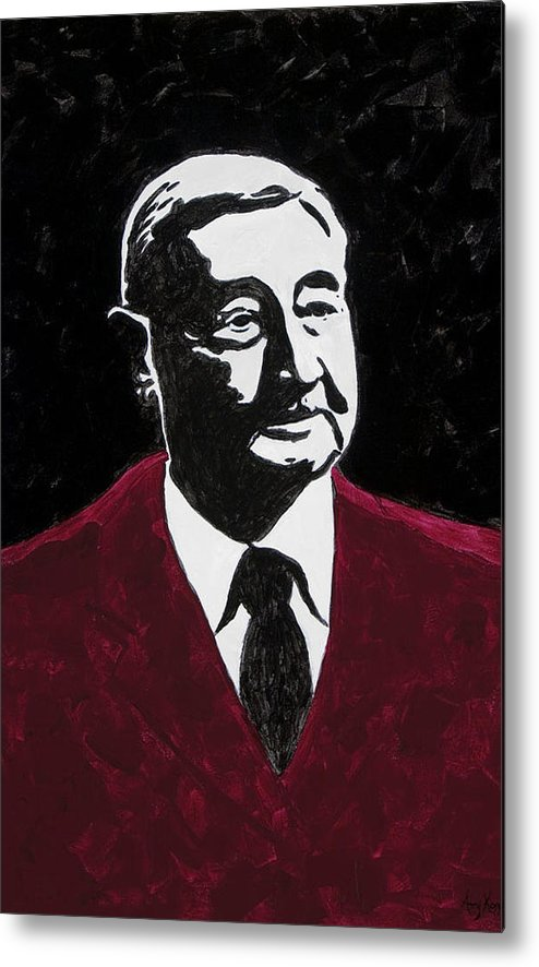 Voice Of The Razorbacks Metal Print featuring the painting Paul Eells by Amy Parker Evans
