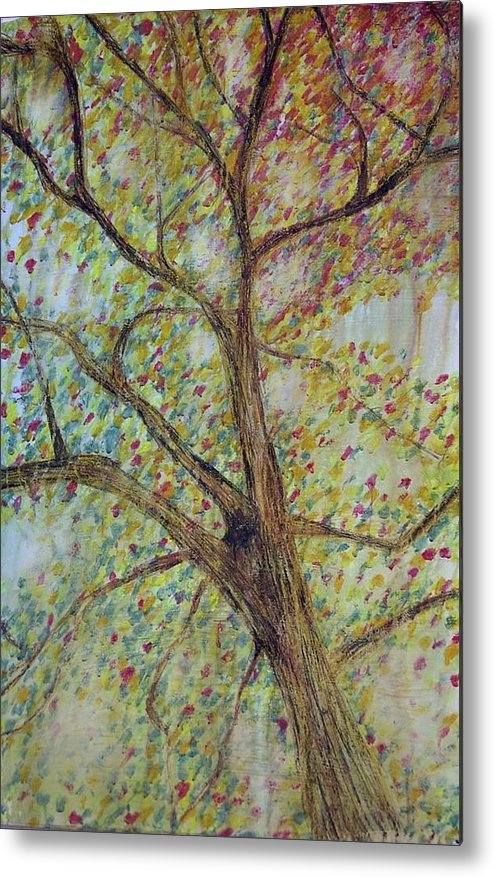 Tree Landscape Rain Dissolve Disappearing Metal Print featuring the painting Rain by Sally Van Driest