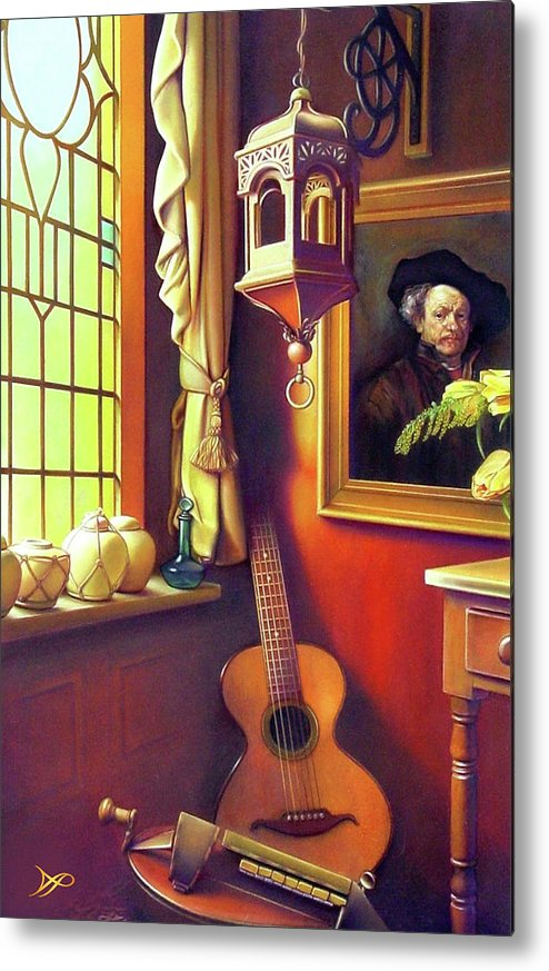 Rembrandt Metal Print featuring the painting Rembrandt's Hurdy-gurdy by Patrick Anthony Pierson