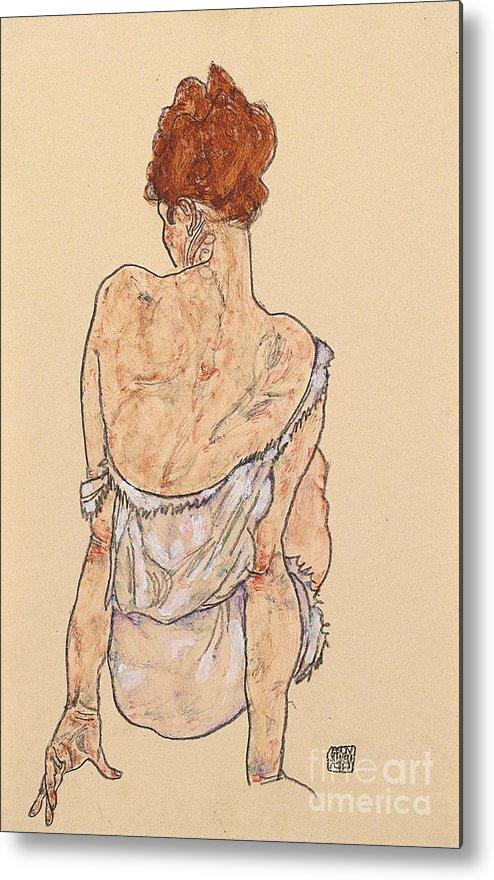 Seated Woman In Underwear Metal Print featuring the drawing Seated Woman In Underwear by Egon Schiele