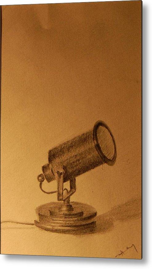 Pencil Metal Print featuring the drawing Studio Lamp by Krishnamurthy S