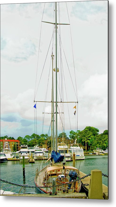 Yachts Metal Print featuring the photograph Tall Boat by Susan Leggett