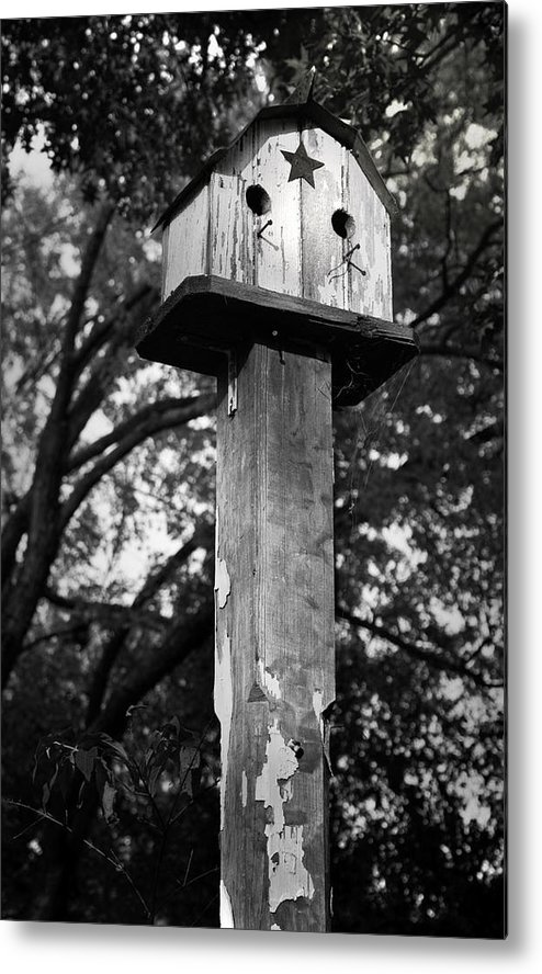 Birdhouse Metal Print featuring the photograph Weathered Bird House by Teresa Mucha