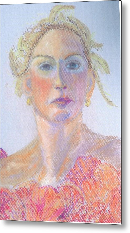Portrait Metal Print featuring the painting Woman In A Red Dress by Deena Greenberg