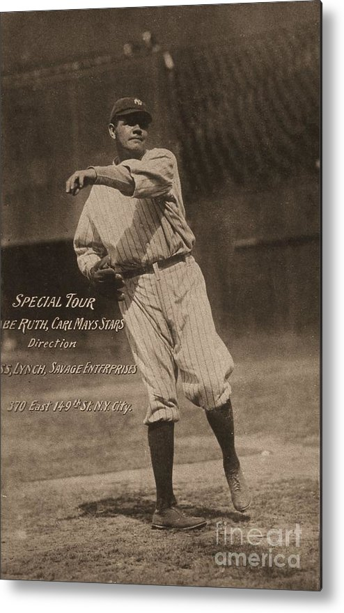 People Metal Print featuring the photograph Babe Ruth Special Tour Postcard by Transcendental Graphics