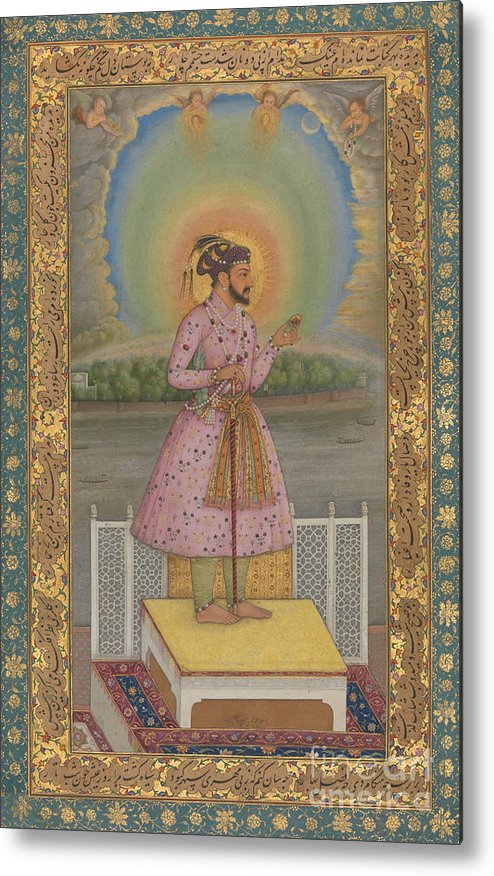 Indian Metal Print featuring the painting Shah Jahan On A Terrace by Chitarman