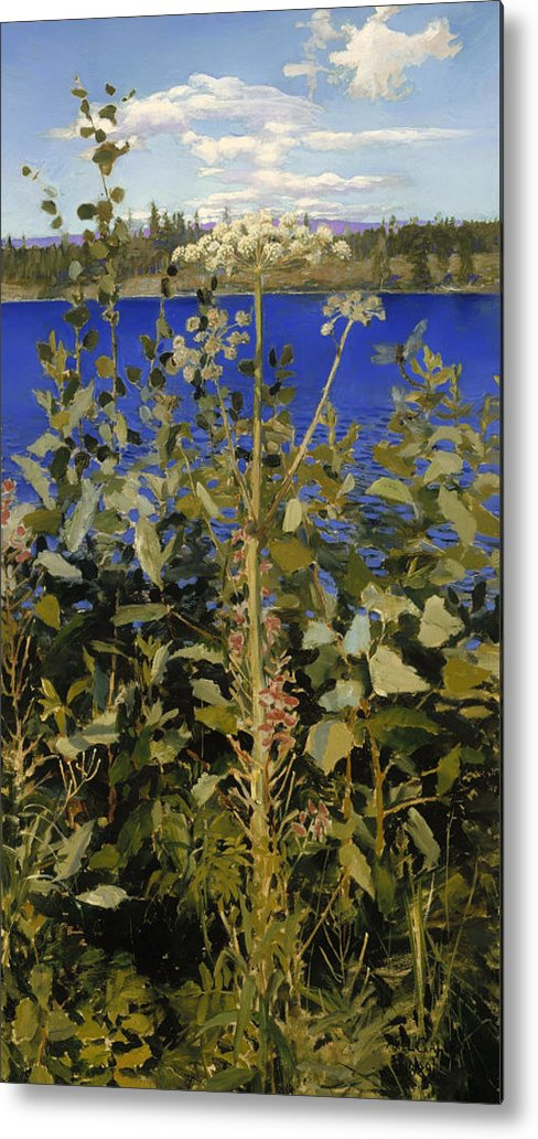 Painting Metal Print featuring the painting Wild Angelica by Mountain Dreams