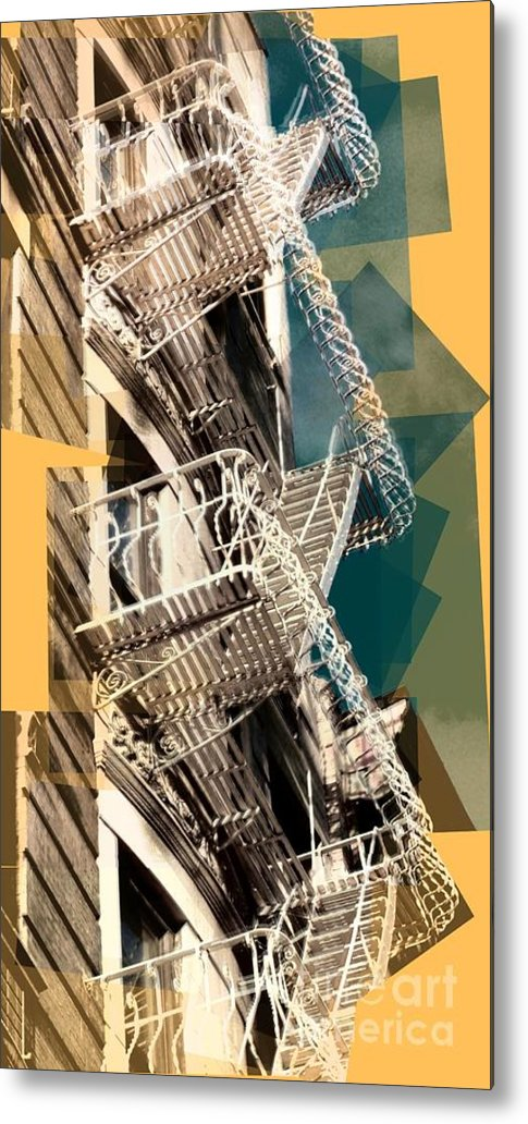 Fire Escapes Metal Print featuring the photograph Fire Escapes In White And Gold by Miriam Danar