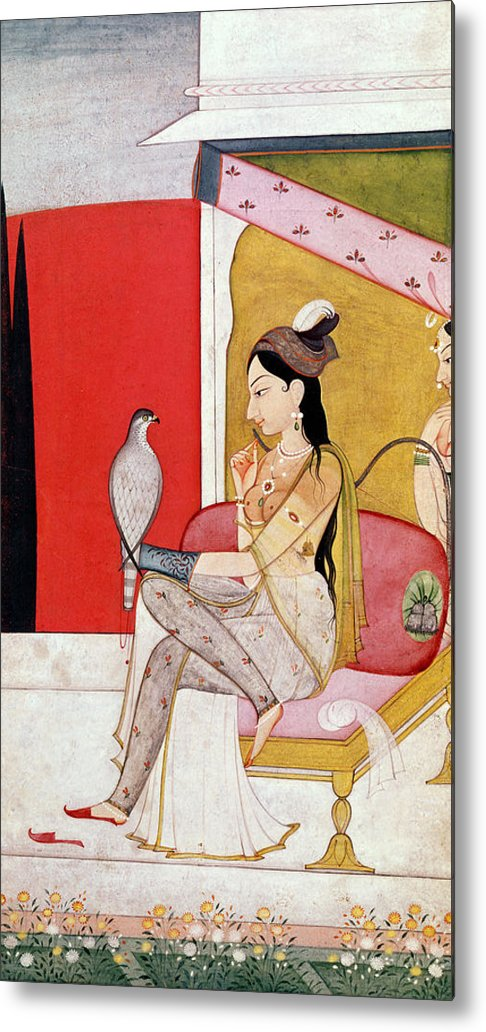 Lady Metal Print featuring the painting Lady With A Hawk by Guler School