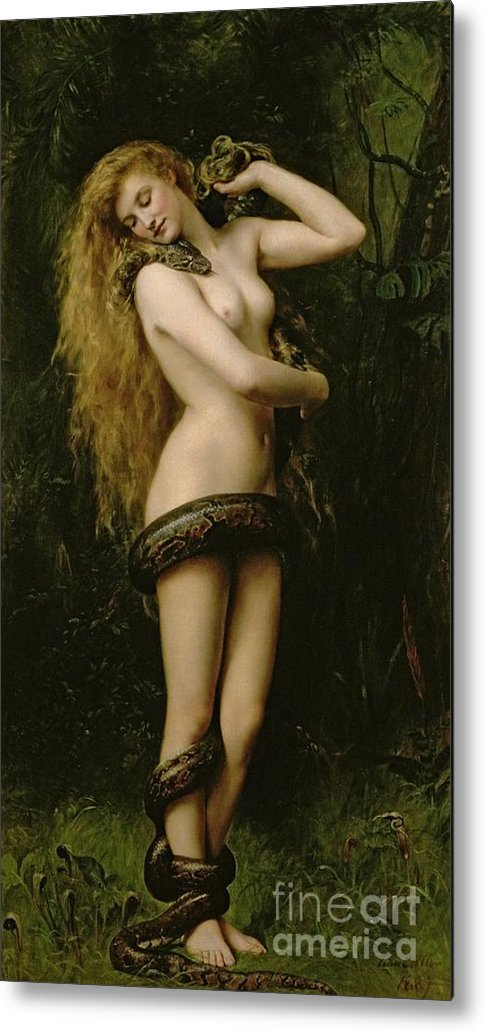 Nude; Female; Snake; Long Hair; Pre-raphaelite; Lilith Metal Print featuring the painting Lilith by John Collier
