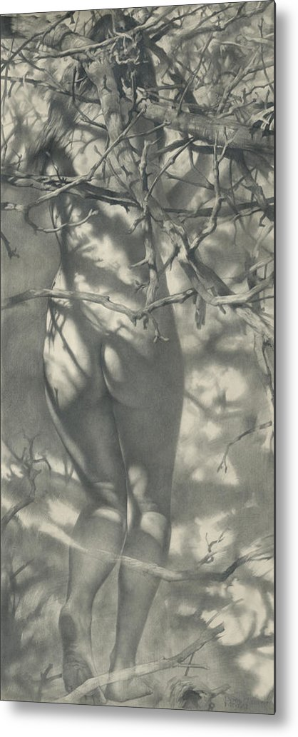 Girl Metal Print featuring the drawing 2011 Spring Nimph by Denis Chernov