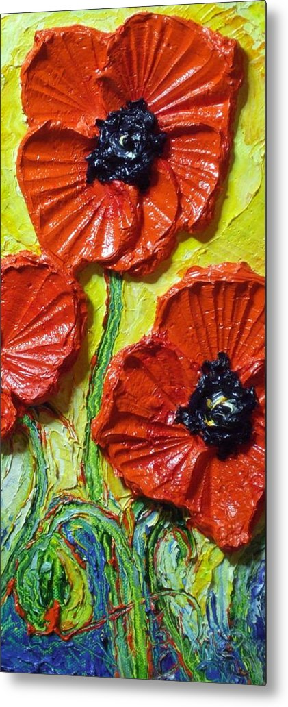 Red Poppy Painting Metal Print featuring the painting Red Poppies II by Paris Wyatt Llanso