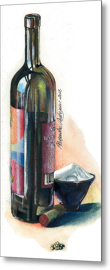 Landscape Metal Print featuring the painting Window On A Bottle by Alessandra Andrisani