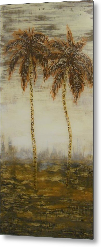 Palm Trees Metal Print featuring the painting Southern Palms 3 by Eric Rabbers