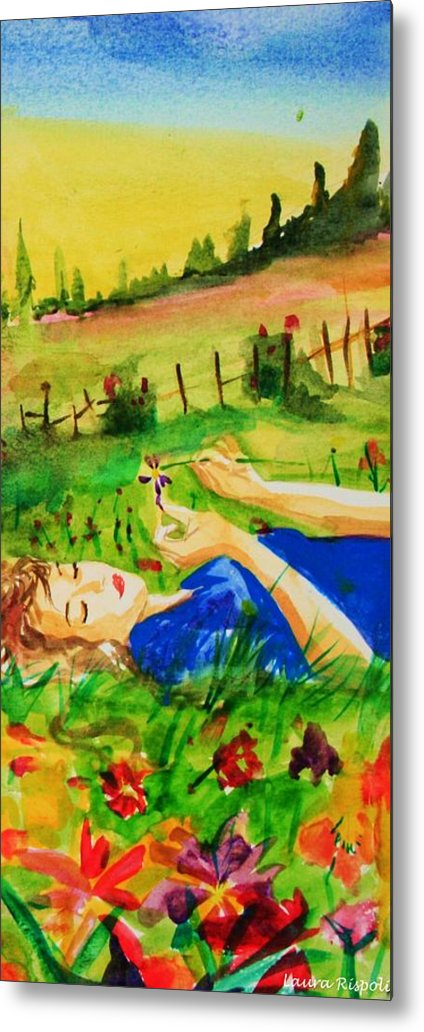 Landscape Metal Print featuring the painting Dreaming by Laura Rispoli