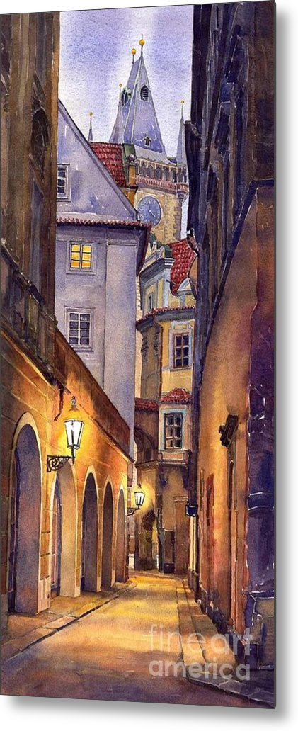 Cityscape Metal Print featuring the painting Prague Old Street by Yuriy Shevchuk