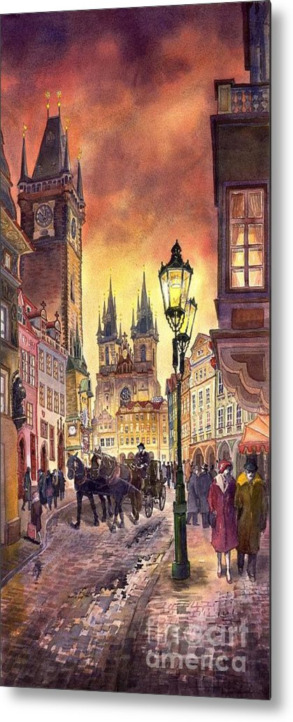 Cityscape Metal Print featuring the painting Prague Old Town Squere by Yuriy Shevchuk